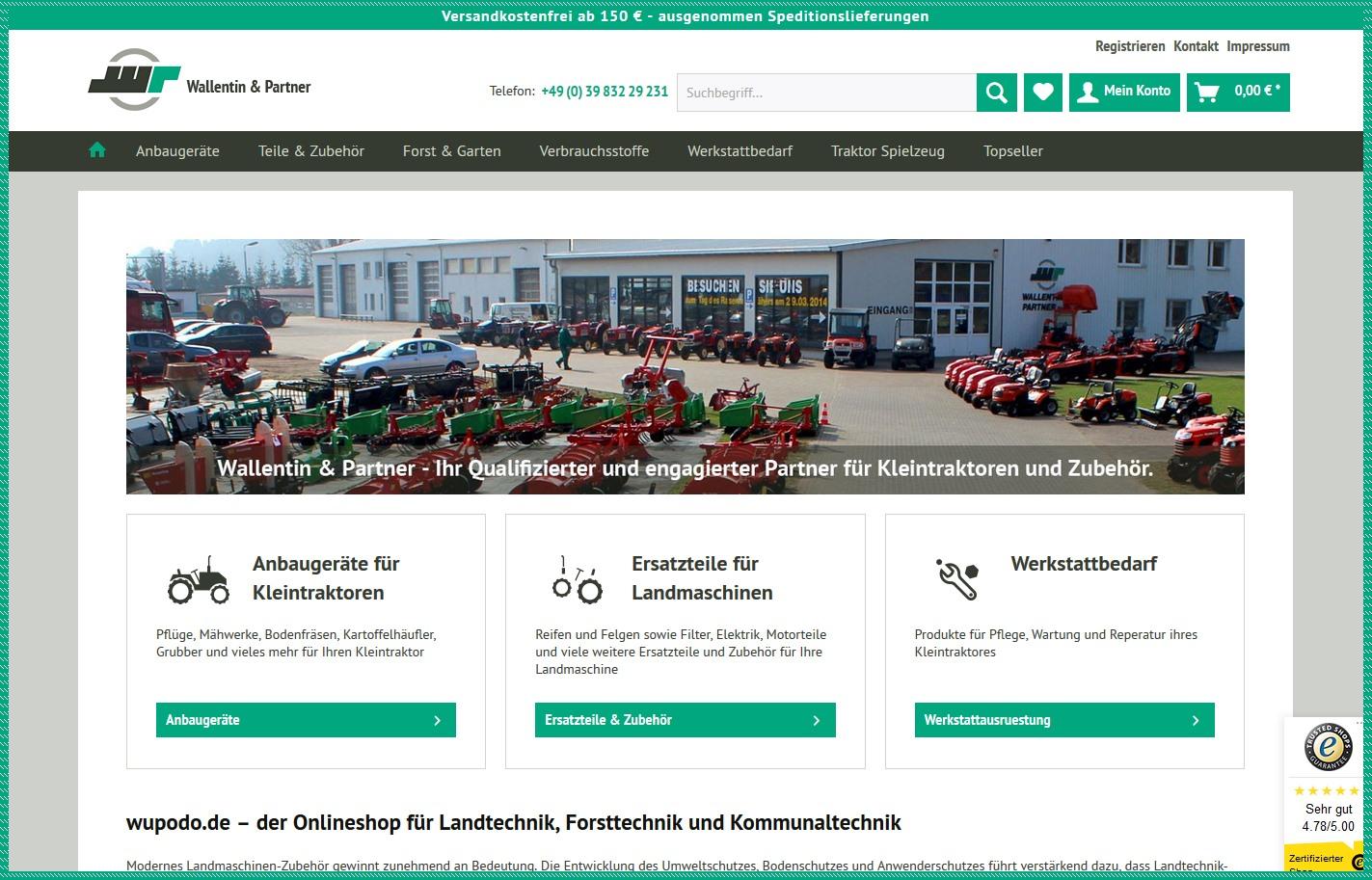 Onlineshop Wupodo Anbaugeraete Kleintraktor Ersatzteile